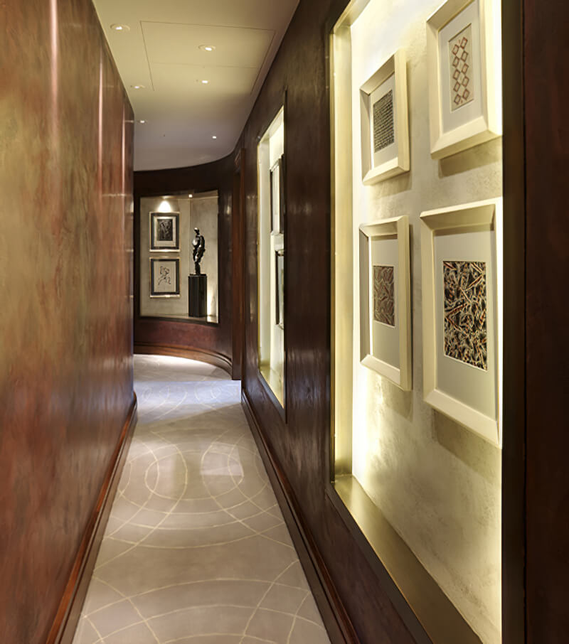 Geometric patterns in silk reflect the curves in this hallway.