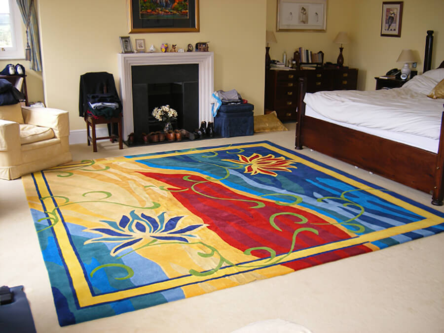 'Summer Knights' is the name we gave to this exciting 'hot' design for a bedroom rug.