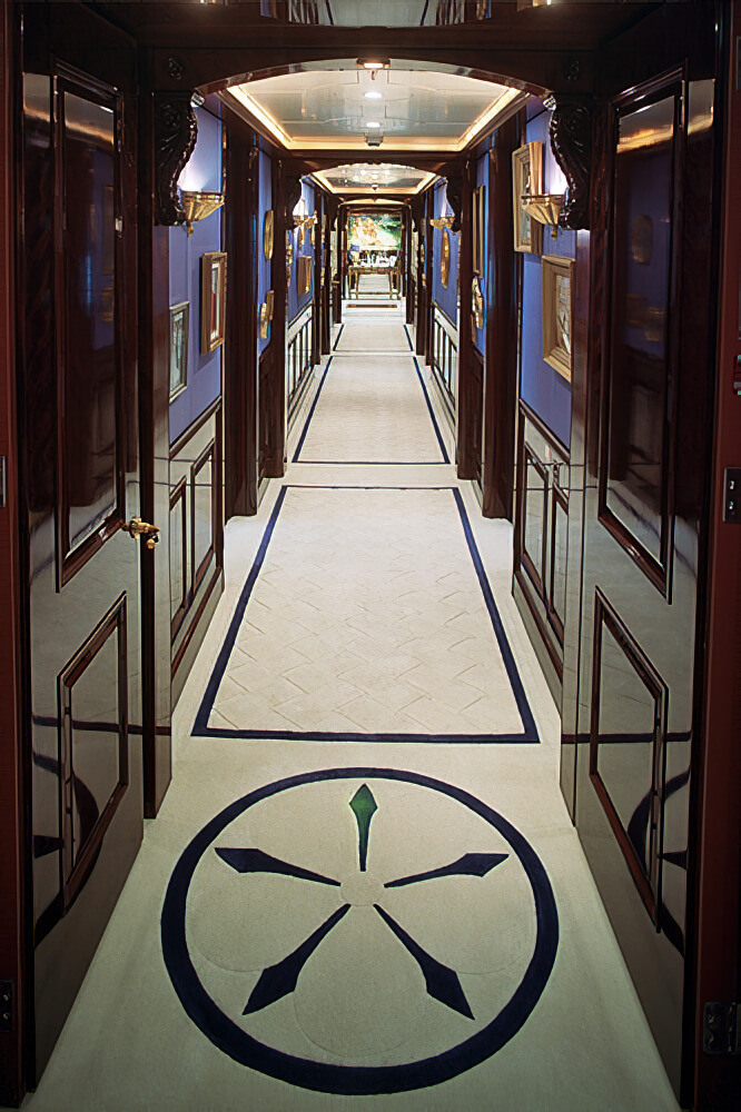 Our 'Basketweave' carpet from 'Basics Collection', with added motifs in the corridor on 'White Rose'.