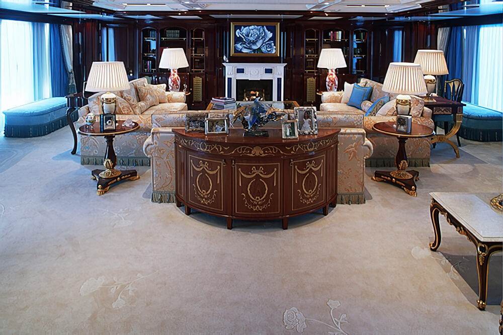 The 'White Rose' motif is subtly portrayed in a carved lighter colour on this carpet for the Saloon. The drawing of the motif was created by the owner's wife and interpreted by Sharon Reid.