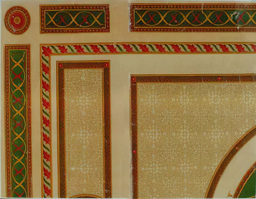 Hand painted Adam style design by Francis Millward for a Ruler's palace