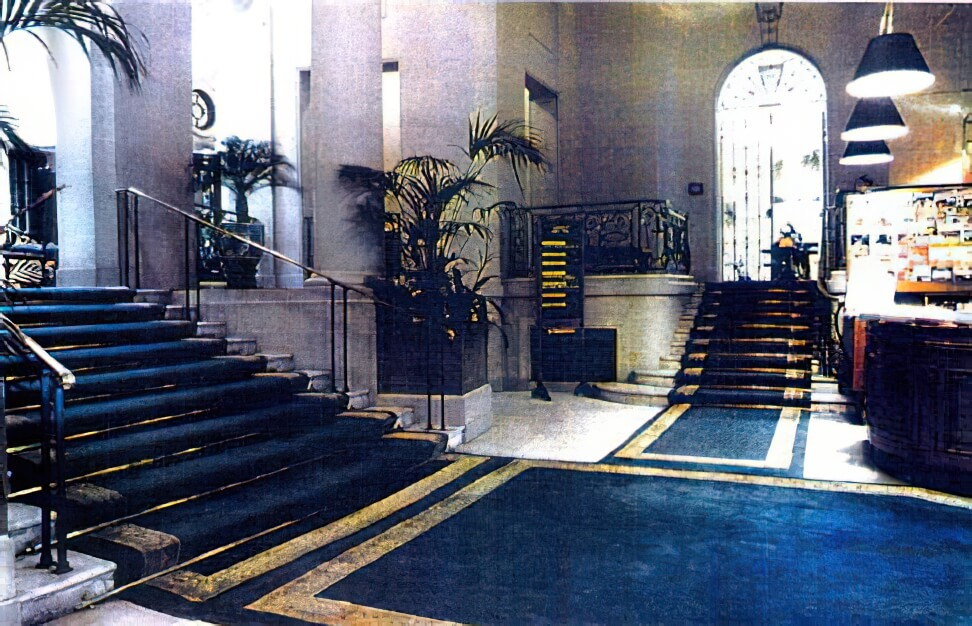 These grand stair carpets used to enhance the entrance at the RAC Clubhouse in St. James, London's traditional clubland. We created new designs to close cover the area, which can be seen there today.