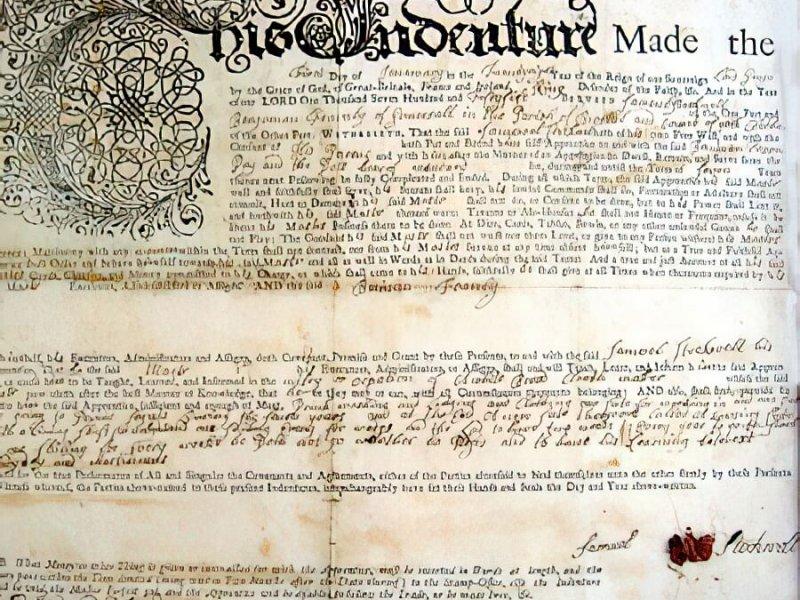L'acte d'apprentissage de Samuel Stockwell daté de 1755.