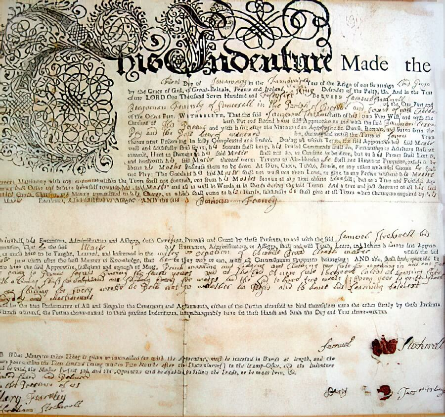 Samuel Stockwell's indenture dated 1755
