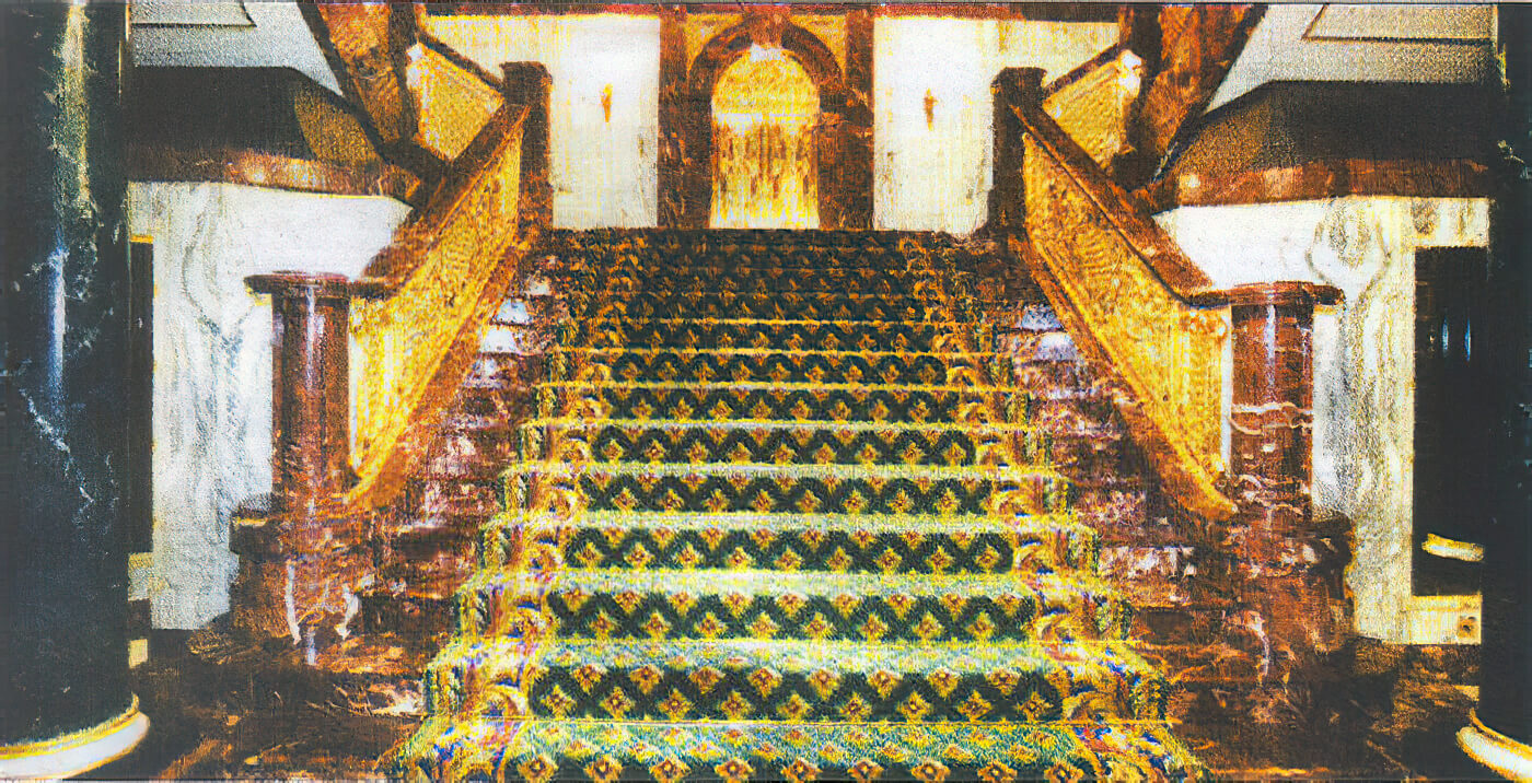 An ornate stair carpet, by Craigie Stockwell, in a private mansion